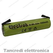 Pila Batteria Mini stilo AAA 1000mAh ricaricabile NiMh Ni-Mh lamelle a saldare