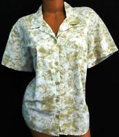 White stag white tan tribal paisley print short sleeve button down top XXL