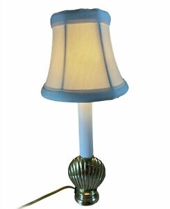 """Vintage Brass Shell Accent Lamp Electric Candlestick Night Light Beach House 11"""""""