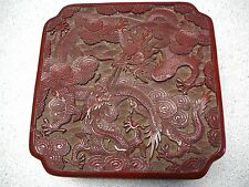 Most beautiful red lacquer cinnabar square covered box on ebay two dragons 18thC