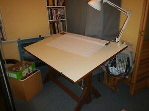 Vintage Hamilton Drafting Table Solid Wood & Iron