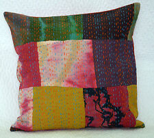 "Indian Patch Kantha Cushion Cover Cotton Pillow Cases Throw Decor 16""x16"" Boho"