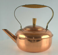 Vintage Copper Kettle Brass handles Quality Made Unique Style Very clean inside