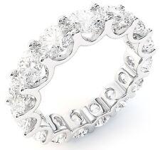 "6.30 ct Round Diamond Ring 18K White Gold Eternity ""U"" Band F-G 0.45 ct each"