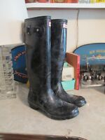 Hunter Womens Original Tall Gloss Rain Boots Black US Size 9 NWOB