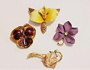 4 Piece Joan Rivers Mixed Design Flower Brooch Lot