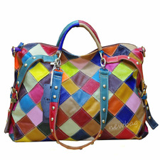 Women Colorful Leather Shoulder Bag Handbag Purse Tote Satchel Multi-Color New