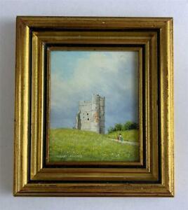 ROBERT HUGHES RMS Miniature Oil Painting DONNINGTON CASTLE NEWBURY