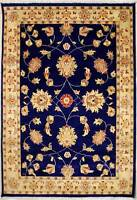 Rugstc 4x6 Senneh Chobi Ziegler Blue Area Rug,Natural dye, Hand-Knotted,Wool