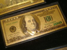 AWESOME COLLECTIBLE ONE HUNDRED GOLD DOLLAR BILL $100