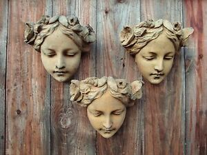 Art Nouveau female faces 3 decorative stone wall plaques home garden ornament