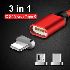 1/2/3m 2.4A Magnetic Charger Type C USB-C IOS Micro USB Charge Cable magnet port