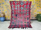 Vintage Boujad Rug 3ft 7x  5ft 9 Red Moroccan Berber Rug with Floating Diamonds