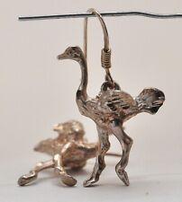 Vintage Sterling Silver Ostrich Bird EARRINGS