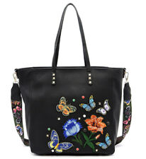 """VIETA Butterfly Accent, Carry-all (16"""" x 12.5"""") Zip-Top Tote w/ Decorative Strap"""