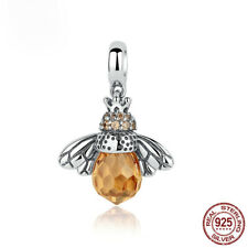Hot Selling Not Silver Plated Large CZ Bee Dangle Chamr Pendant Fit Bracelet