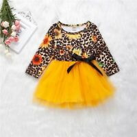 Toddler Kids Baby Girl Leopard & Flower Print Long Sleeve Mesh Princess Dress