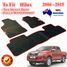All Weather Rubber FLOOR MATS FOR TOYOTA HILUX 2005 - 2015 SR5 Dual Cab Red trim