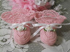 Handmade Hand Crocheted Baby  Booties - Pink w/White Ribbons & Flowers