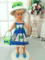 OOAK HANDMADE DOLL CLOTHES FOR STACIE CAT KITTY PRINT DRESS OUTFIT CLOTHES SET