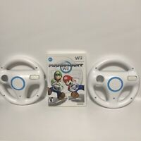 Nintendo Wii Mario Kart Wii Game CIB With Instruction Booklet & 2 Wheels Tested