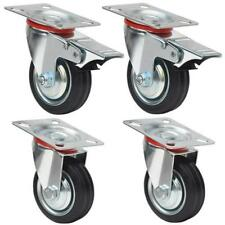 "4 Heavy Duty Caster Set 3"" Swivel Wheels 2 w/ Brake Non Skid No Mark Castors"