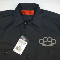 NEW NWT DICKIES Embroidered BRASS KNUCKLES GARAGE MECHANIC RACING WORK SHIRT