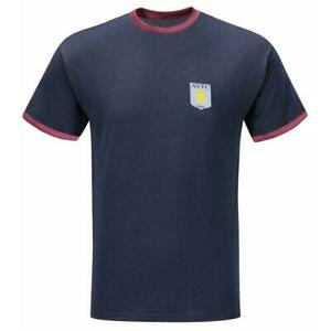 Aston Villa Mens Ringer Crew Neck T-Shirt - Exclusive Sutton Sports