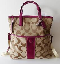 NWT Coach Signature Stripe Foldover Tote Handbag Shoulder Bag Purse Berry Gift
