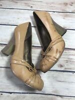WHITE MT Womens Size 8.5 Brown Faux Leather Loafer Pumps Heels Shoe Slip On
