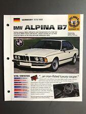 "1978 - 1988 BMW Alpina B7 Coupe IMP ""Hot Cars"" Spec Sheet Folder Brochure L@@K"