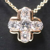 """White Round Moissanite Cross Pendant Necklace 14K Rose Gold Plated 18"""" Chain"""