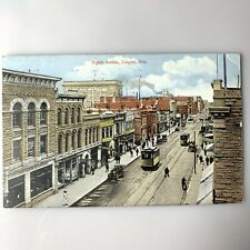 Antique 1913 Postcard 8th Avenue Calgary Canada Cable Cars Downtown Signs