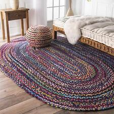 "Reversible Braided Rug Cotton Mat Oval Shaped Handmade 180x270 CM"" Carpet"