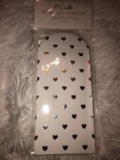 White And Silver Hearts Paper Favour Envelopes  Pack 10