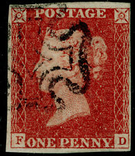 SG8, 1d red-brown PLATE 32, FINE USED. Cat £60. BLACK MX. FD