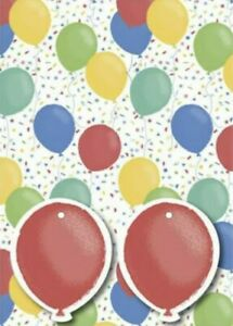 Balloons Party Multicoloured Folded Gift Wrap 2 X Sheets 2 X Matching Tags Kids