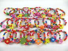 50X mixed colour wood wooden cartoon children's elasticity bracelets kid gift