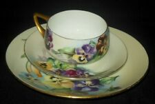 ROSENTHAL BAVARIA HAND PAINTED THREE PIECE CUP SAUCER PLATE SET PANSY FLOWERS