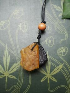 Raw Whitby Jet & Baltic Amber Witches Pendant  - Wicca, Witchcraft - Moon & Sun