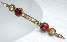 & Diamond Paste Rhinestone Bar Pin 1890's Victorian I. Michelson Simulated Ruby