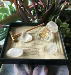 Mini Crystal Reiki Zen Garden,Tabletop Zen Garden Kit, Patio Zen Garden, Zen,Qua
