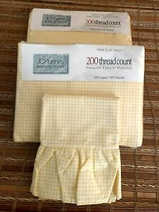 Vtg JC Penney BUTTERCUP Yellow White Gingham Percale Flat Fitted Sheet Case Twin