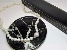 New white real freshwater pearl necklace with designer clasp in gift box