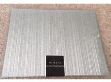 Set 2 Silver Square Mirrored Striped Lines Glass Glitter Sparkle Placemats Gift