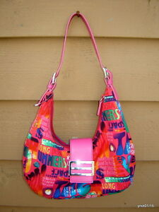 red multi-theme EARTH PURSE Hobo styling Spring colors and sinage pink straps