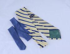 Vintage TOMMY HILFIGER Neck Tie Gold Diagonlad Strips Lion Crest Silk Mens USA