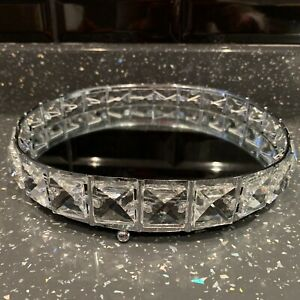 20cm Round Mirror Diamante Candle Plate Tray Jewel Mirrored Candle Tray Plate