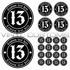 Custom Lucky 13 Number 13 Your Text Here Vinyl Decal Sticker Old English Font