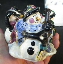 Blue Sky Clayworks Heather Goldmine Snowmen, Snowman Votive Candle Holder Mib